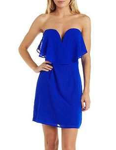 Plunging Flounce Strapless Dress: Charlotte Russe