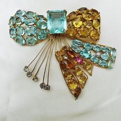 HUGE-Fabulous-FRED-A-BLOCK-STERLING-Rhinestone-BOW-PIN-BROOCH