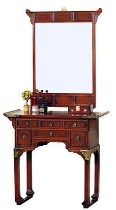This lovely set comes in a deep red-brown finish with clear lacquered brass hardware. The pagoda style edging on the mirror and table make this a striking pair, while the storage space is ideal for all your necessities. Oriental Furniture, Home Furniture, Asian Furniture, Furniture Ideas, Luxury Gifts For Her, Console Table, Table Mirror, Sofa Tables, Wall Fans