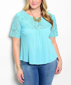 Another great find on #zulily! Aqua Lace Scoop Neck Top - Plus #zulilyfinds