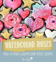 How to make watercolor rose decorated cookies -- a cookie decorating tutorial Valentine Cookies, Easter Cookies, Birthday Cookies, Christmas Cookies, Valentines, Royal Icing Recipe With Egg Whites, Royal Icing Cookies Recipe, Rose Cookies, Flower Cookies