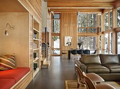 See The Bookshelves on the left? (North Lake Wenatchee House by DeForest Architects)