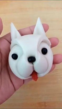 Polymer Clay Animals, Cute Polymer Clay, Polymer Clay Crafts, Diy Clay, Sah Biscuit, Fondant Dog, Fondant Tutorial, Fondant Animals Tutorial, Creative Food Art