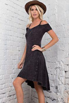 Mineral Washed Cold Shoulder High Low Dress