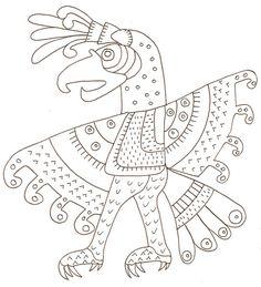 ** ART ** Colorier un oiseau à motif mexicain antique