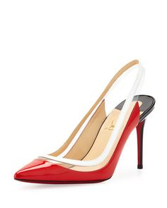 Paulina Point-Toe Patent Slingback, Corazon by Christian Louboutin at Bergdorf Goodman.
