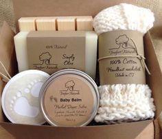 Baby Bath Gift Set - All natural organic baby soap, baby balm, cotton washcloth