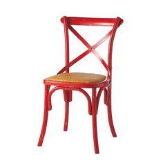Sedia rossa in rattan naturale e legno