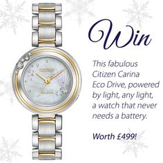 Win a Citizen Carina Eco Drive watch worth £499!! Powered by light 9beee08212e