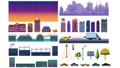 Game dev market presents cool game assets and backgrounds.  Here is Gamebackground city constructor, with buildings, bridges, cars, etc. only for 2$