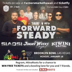 ~ Next Week Monday ~  Want to Win 8 Tickets and Bowling to the Forward Steady Tour @ Brooklyn Bowl?  #reggae #vegas