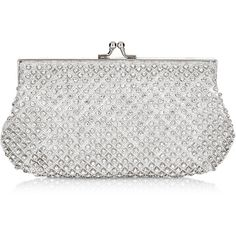 A seriously sparkly clutch bag with all-over crystals and a diamond lattice pattern made with radiant beads. In a classic shape with ball and clasp fastening a…