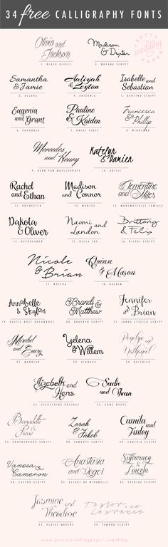 awesome list of free handlettered calligraphic script fonts #weddinginvitations