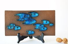 Knabstrup Denmark wall hanging / tile small fishes by danishmood