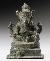 A Small Bronze Figure of Ganesha Indonesia, circa Century Seated in… Ganesh Lord, Sri Ganesh, Ganesha, Shiva, Ganesh Statue, Sculptures, Lion Sculpture, Four Arms, Indonesian Art