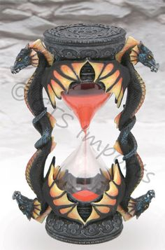 4 Head Dragon Sand Timer Orange & Yellow Collectable Fantasy Hourglass