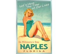 PALM BEACH Florida New Atlantic Ocean Tropical Poster Pin Up Girl Art Print 205