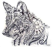 Dibujo de Lobo para tatuajes