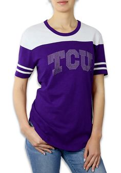 b1284e45bd46 TCU Horned Frogs Womens Purple Color Block Short Sleeve Crew T-Shirt -  18450020