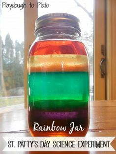 Fun St. Patrick's Day Science Experiment for Kids: Rainbow Jar - Playdough To Plato