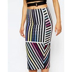 ASOS Printed Variegated Stripe Pencil Skirt ($22) ❤ liked on Polyvore featuring skirts, asos, asos skirts, body con pencil skirt, white knee length pencil skirt and white body con skirt