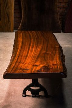 85cm average x 1.8m in length. This rare wood is from a fresh water lake in Panama, submerged underwater for decades. Finished in a NC special coating system and antique wax polish. Price: $2500 Price is not including base as seen in picture.