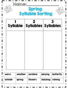 Spring syllable sort 1st grade