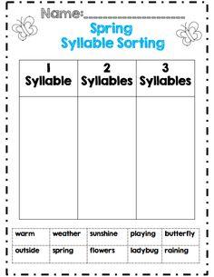 Spring syllable sort 1st grade