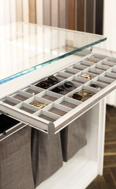 Jewelry Storage Ideas Pull out jewelry drawer organizers are a great way to store not only necklaces Jewelry Organizer Drawer, Jewelry Drawer, Jewellery Storage, Shoe Rack With Shelf, Shelf Dividers, Shoe Storage, Storage Ideas, Tie Rack, California Closets