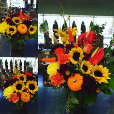 Our customer wanted the same theme for their arrangements but in 3 different sizes for 3 different locations! Here's our progression! #Fall #sunflowers #gerberas #anthurium #orchids #peppers ! Always #fun to get a new request!