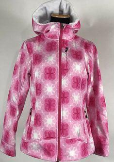 88657ba28b Spyder Womens Pink White Fleece Lined 3D Hooded Full Zip Jacket Sz L