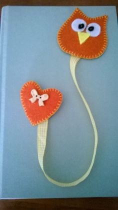 Felt Crafts Diy, Owl Crafts, Fabric Crafts, Sewing Crafts, Felt Bookmark, Crochet Bookmarks, Hobbies And Crafts, Crafts For Kids, Craft Projects