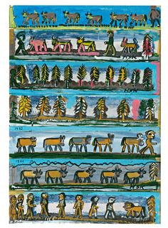 Hans Krüsi Art Brut, Outsider Art, Cattle, Sheep, Folk Art, Cow, The Outsiders, Comic Books, Comics