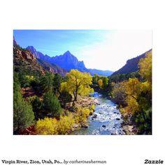 Virgin River, Zion, Utah, Postcard