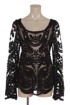 Black lace, lacey top, black lacy top, vintage lace top $29