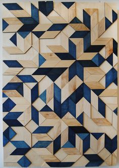 'Patterned Planking' by  Lauren Meyer - check out these wood inspired design ideas on the #mygenue blog! https://mygenue.com/patterned-planking/ #handmade #wallart #woodworking #pattern