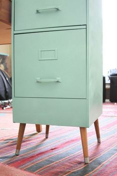 Vintage File Cabinet with Mid-Century Legs Makeover DIY (Lovely Chaos) Furniture Makeover DIY cabinet Chaos DIY File Legs lovely Makeover Midcentury Vintage Refurbished Furniture, Repurposed Furniture, Furniture Makeover, Painted Furniture, Lamp Makeover, Distressed Furniture, Furniture Projects, Diy Furniture, Furniture Design