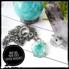 """Crystals on Instagram: """"What was your first crystal necklace? Mine was this dyed Solar Quartz that I wore on my wedding day 7 years ago! (2nd photo) I knew nothing…"""" Healing Crystal Jewelry, Crystal Necklace, Natural Crystals, Solar, Wedding Day, Quartz, Jewelry Making, Instagram, Pi Day Wedding"""