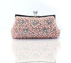 Free Shipping Champagne Ladies Beaded Embroidery Handbag Clutch Evening Bag Purse Makeup Bag  03737b