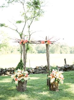branches tied at the corners. and flowers on the corners. This wouldn't be hard at all!