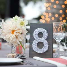String Art Table Numbers - you could do other small party signs for a cocktail party or holiday gathering too! Not just for weddings! Wedding String Art, Art Deco Wedding, Diy Wedding, Wedding Ideas, Wedding Planning, Dream Wedding, Wedding Bells, Elegant Wedding, Wedding Favors