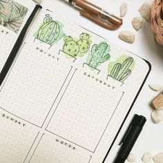 I adore everything about this sread - the watercolor and the cactus! this is from @bujo.in.a.jar . Monthly we have great free printable…