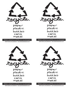 Sorting Garbage: Cute Recycle Label with Hand Drawn Fonts from Hearts and Laserbeams