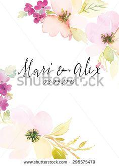 Watercolor greeting card flowers. Handmade. Wedding.