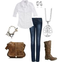 classic denim and tan leather combo, created by carly1d on Polyvore