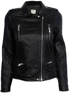 Caelie Perforated Moto Jacket - Lyst