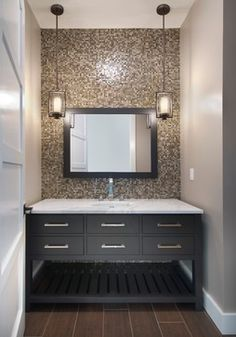 Can You Mix Metal Finishes in the Bathroom Hanging Pendants, Frosted Glass, Glass Shades, Master Bathroom, Home Depot, Pendant Earrings, Master Bath, Pendant Lamps, Master Bathrooms
