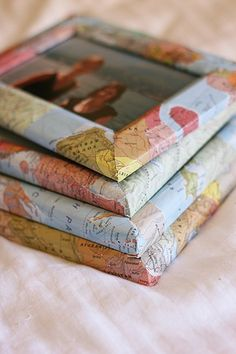 DIY - Map Frames ( just decoupaged) How Cute For Travel Photos ? Or, use any paper for different look!