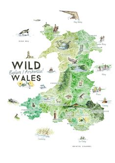 Travel and Trip infographic Travel infographic - Wild Wales: Illustrated Map Benjamin Mounsey Infographic Description Travel and Trip infographic Wild Travel Maps, Travel Posters, Plan Ville, Wales Map, Bristol Channel, Map Crafts, Pictorial Maps, Travel Illustration, Map Design