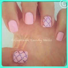 I think the easiest way of doing this is to paint your nails silver, then put a piece of screen, or something else with holes in it over your nails, then paint them pink.